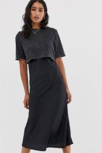 AllSaints - Benno - Midi-T-Shirt-Kleid - Schwarz - Farbe:Schwarz