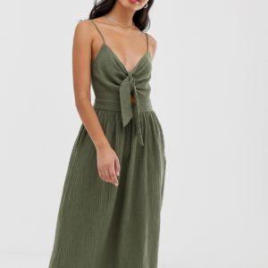 Pimkie - Sommerkleid in Khaki mit Bindedetail vorne - Rosa - Farbe:Rosa