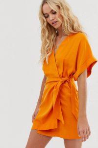 Other Stories - Orangefarbenes Minikleid mit Bindegürtel - Orange - Farbe:Orange