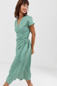 Other Stories - Salbeigrünes Kleid mit Wickeleffekt vorn - Grün - Farbe:Grün