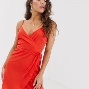 ASOS DESIGN – Mini-Camisolekleid zum Wickeln – Rot