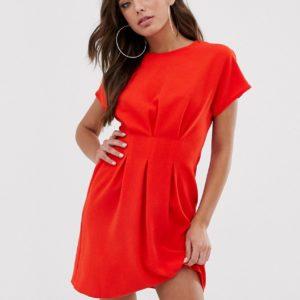ASOS DESIGN – Minikleid mit geraffter Taille – Rot