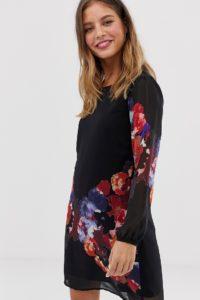 Yumi - Tunika-Etuikleid mit Wasserfarben-Blumenmuster - Schwarz - Farbe:Schwarz