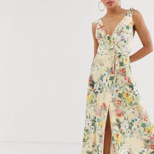 ASOS DESGN – Gewickeltes Maxikleid mit Blumenmuster und Rüschen – Mehrfarbig