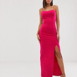 Club L London – Wadenlanges Kleid in Fuchsia mit eckigem Ausschnitt – Rosa