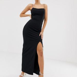 Club L London – Schwarzes Midaxi-Kleid mit eckigem Ausschnitt – Schwarz