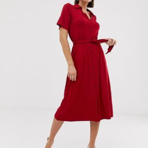 ASOS DESIGN – Midi-Hemdkleid mit Gürtel – Rot