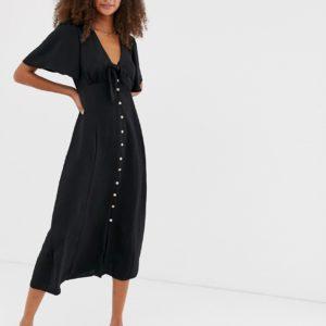 New Look – Vorne geschnürtes, schwarzes Kleid mit Knopfleiste – Schwarz