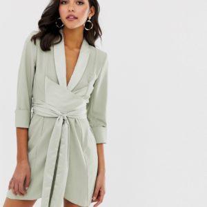 ASOS DESIGN – Minikleid im Smoking-Stil mit gerafften Ärmeln – Grün