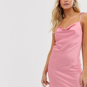 Miss Selfridge – Mini-Trägerkleid in Rosa mit gebundener Schulter – Rosa