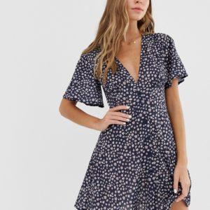 Pull&Bear – Blaues Kleid mit V-Ausschnitt und Blümchenmuster – Blau