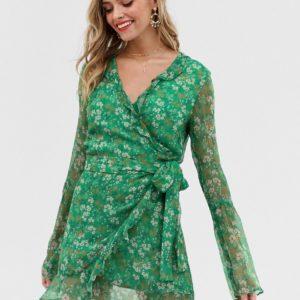 Stevie May – Jade Valentine – Langärmliges Minikleid mit Wickeldesign – Grün
