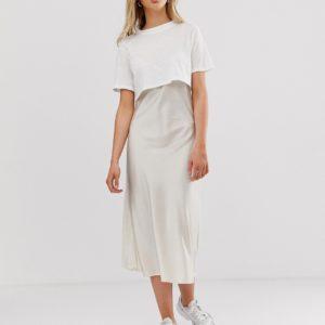 AllSaints – Benno – Midi-T-Shirt-Kleid – Weiß
