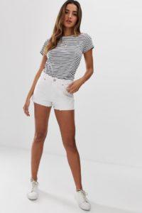 ASOS DESIGN - Alvey - Weiße Jeansshorts mit mittelhohem Bund - Weiß - Farbe:Weiß