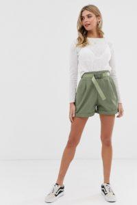 Pull&Bear - Cargo-Shorts mit Gürtel in Khaki - Grün - Farbe:Grün