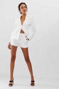 4th & Reckless - Weiße Shorts mit seitlichem Knopfdetail - Weiß - Farbe:Weiß