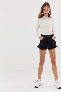 Abrand - Jeansshorts mit hoher Taille - Schwarz - Farbe:Schwarz