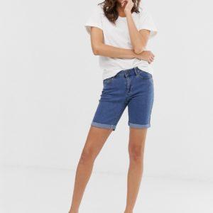 Vero Moda - Lang geschnittene Jeans-Shorts in Blau - Blau - Farbe:Blau
