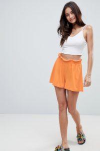ASOS - Hosenrock-Shorts mit Paperbag-Taille - Orange - Farbe:Orange
