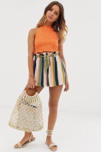 Hollister - Gestreifte Shorts mit Paperbag-Taille - Mehrfarbig - Farbe:Mehrfarbig