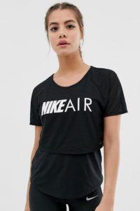 Nike - Air - Zweilagiges T-Shirt in Schwarz - Schwarz - Farbe:Schwarz