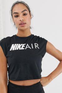 Nike - Air - Kurz geschnittenes T-Shirt in Schwarz - Schwarz - Farbe:Schwarz