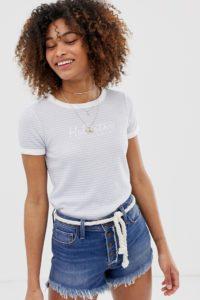 Hollister - Gestreiftes T-Shirt mit Logo - Blau - Farbe:Blau