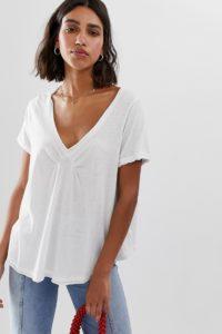 Free People - All You Need - T-Shirt mit V-Ausschnitt - Weiß - Farbe:Weiß