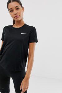 Nike Running - Miler - Schwarzes T-Shirt - Schwarz - Farbe:Schwarz