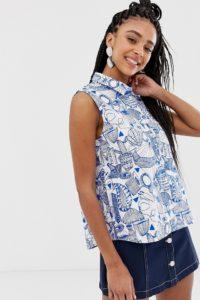 Monki - Ärmelloses Hemd mit Print - Mehrfarbig - Farbe:Mehrfarbig