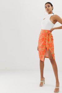 4th & Reckless - Wickelrock in Orange mit Kettenmotiv und Knotendetail vorne - Mehrfarbig - Farbe:Mehrfarbig