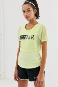 Nike Air - Doppellagiges T-shirt in Limette - Grün - Farbe:Grün
