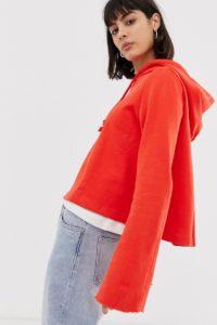 Weekday - Barrier - Kapuzenpullover mit ausgestellten Ärmeln - Rot - Farbe:Rot