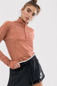Nike Running - Element - Oberteil mit kurzem Reißverschluss in Pfirsich - Orange - Farbe:Orange