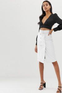 4th & Reckless - Weißer Midirock aus PU mit Gürtel und Knöpfen - Weiß - Farbe:Weiß