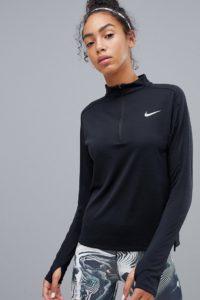 Nike Running - Pacer - Schwarzes Oberteil mit kurzem Reißverschluss - Schwarz - Farbe:Schwarz
