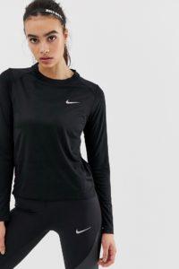 Nike Running - Dry Miler - Langärmliges Oberteil in Schwarz - Schwarz - Farbe:Schwarz