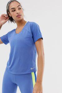 Nike Running - Blaues T-Shirt mit Cut-out hinten - Blau - Farbe:Blau