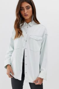 AllSaints - Harper - Oversize-Jeanshemd - Blau - Farbe:Blau