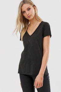 AllSaints - Emelyn - Gewaschenes T-Shirt - Schwarz - Farbe:Schwarz
