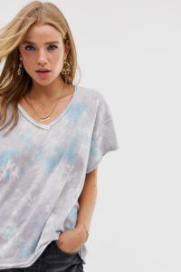 Free People - All Mine - T-Shirt mit Batikmuster - Grau - Farbe:Grau