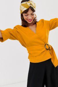 Other Stories - Senfgelbe Bluse aus Leinenmischung mit Gürtel - Mehrfarbig - Farbe:Mehrfarbig