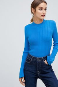 HUGO - Geripptes Strickoberteil - Blau - Farbe:Blau