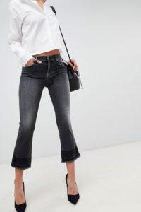 7 For All Mankind - Verkürzte Jeans mit Schlag - Schwarz - Farbe:Schwarz