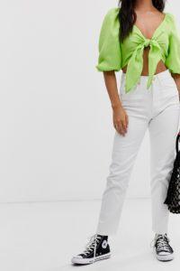 Pull&Bear - Comfort Stretch - Weiße Mom-Jeans - Weiß - Farbe:Weiß