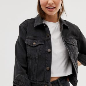 Cheap Monday – Jeansjacke in eingelaufener Optik – Schwarz