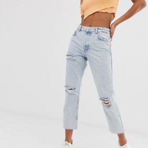 Bershka – Schmale Jeans in Blau mit Rissen – Blau