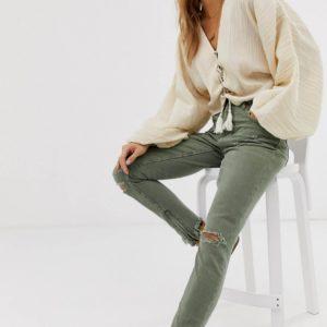 One Teaspoon – Freebirds – Enge Jeans mit hohem Bund und ausgefransten Saum – Grün