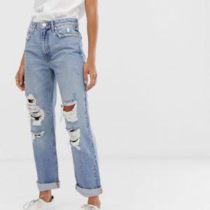 River Island – Boyfriend-Jeans in heller Waschung mit Zierrissen – Blau