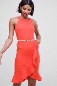 Paper Dolls - Ärmelloses Kleid mit Gürtel und Verzierung - Rot - Farbe:Rot